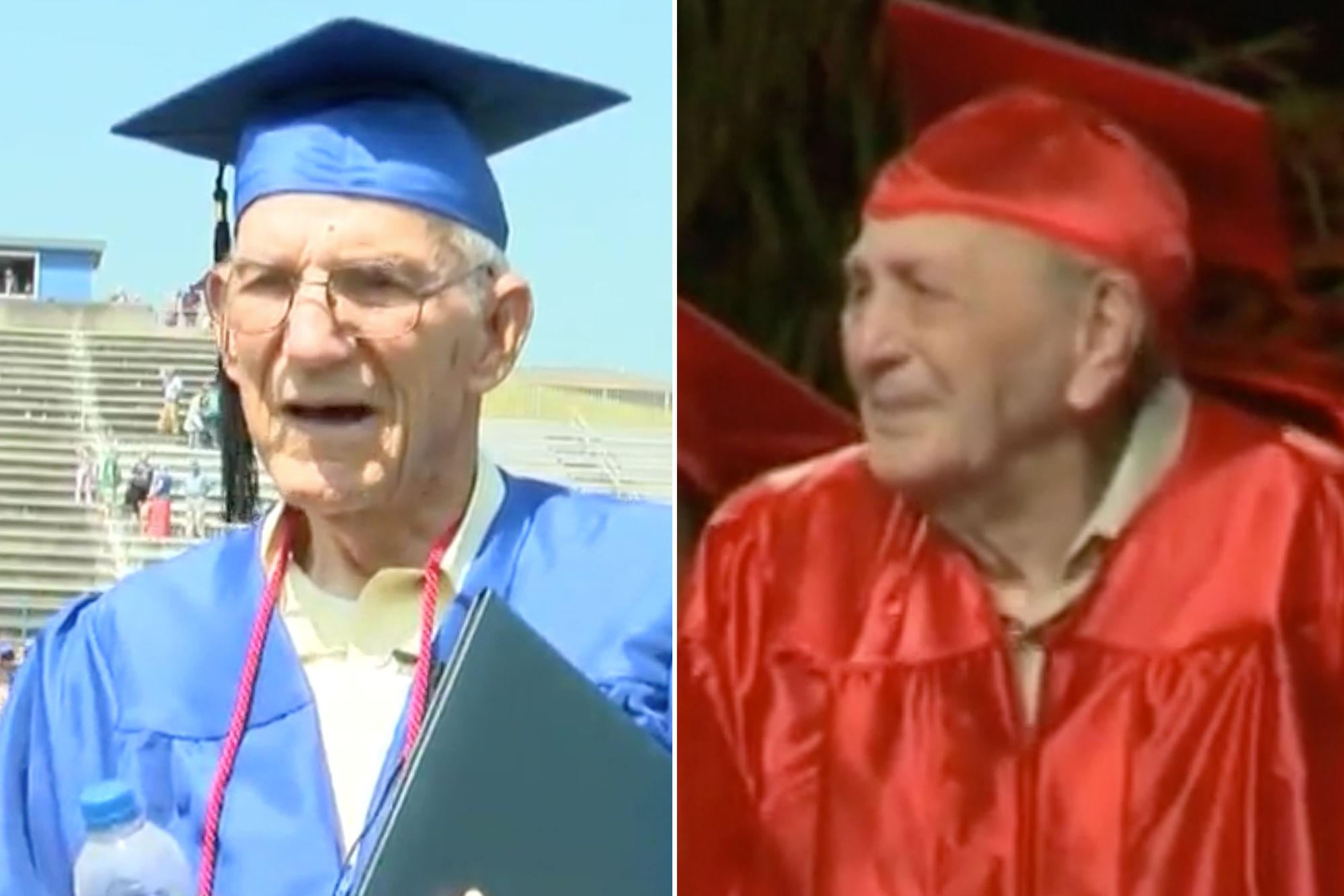 World War II Veteran, 95, and Korean War Veteran, 85, Walk During Their High School Graduation