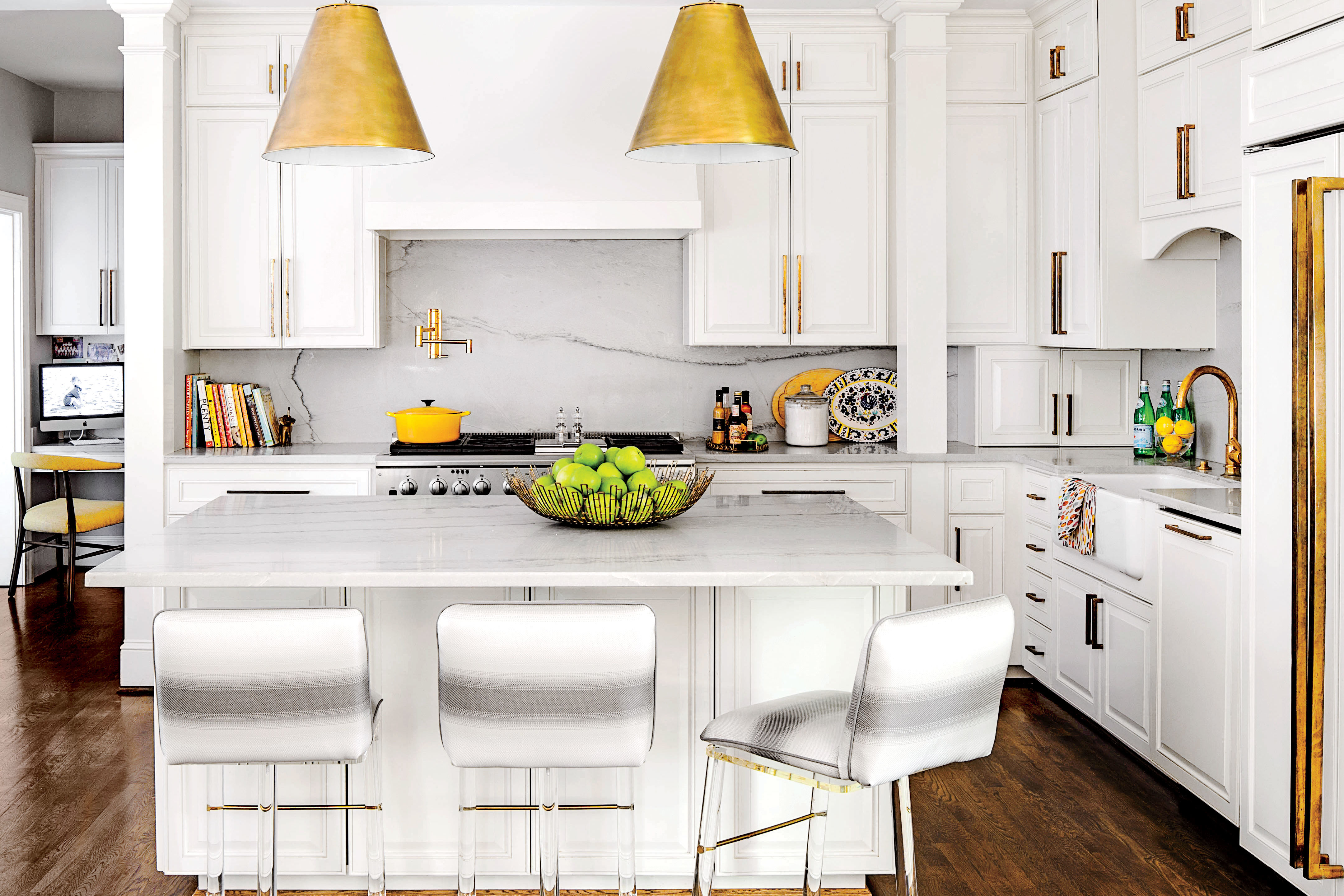 All-Time Favorite White Kitchens - Southern Living on country kitchens with white cabinets, best flooring for white cabinets, kitchen wall color ideas with white cabinets, best kitchen countertop material,