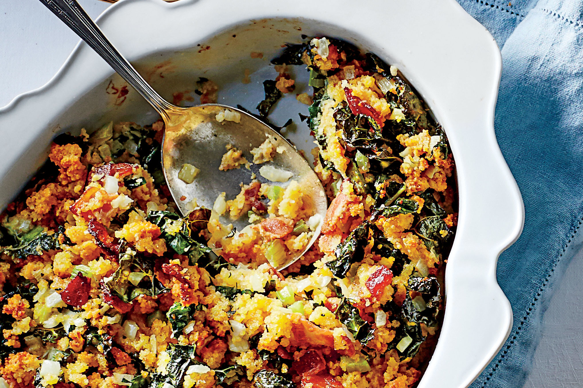 Cornbread Dressing with Kale and Bacon Recipe