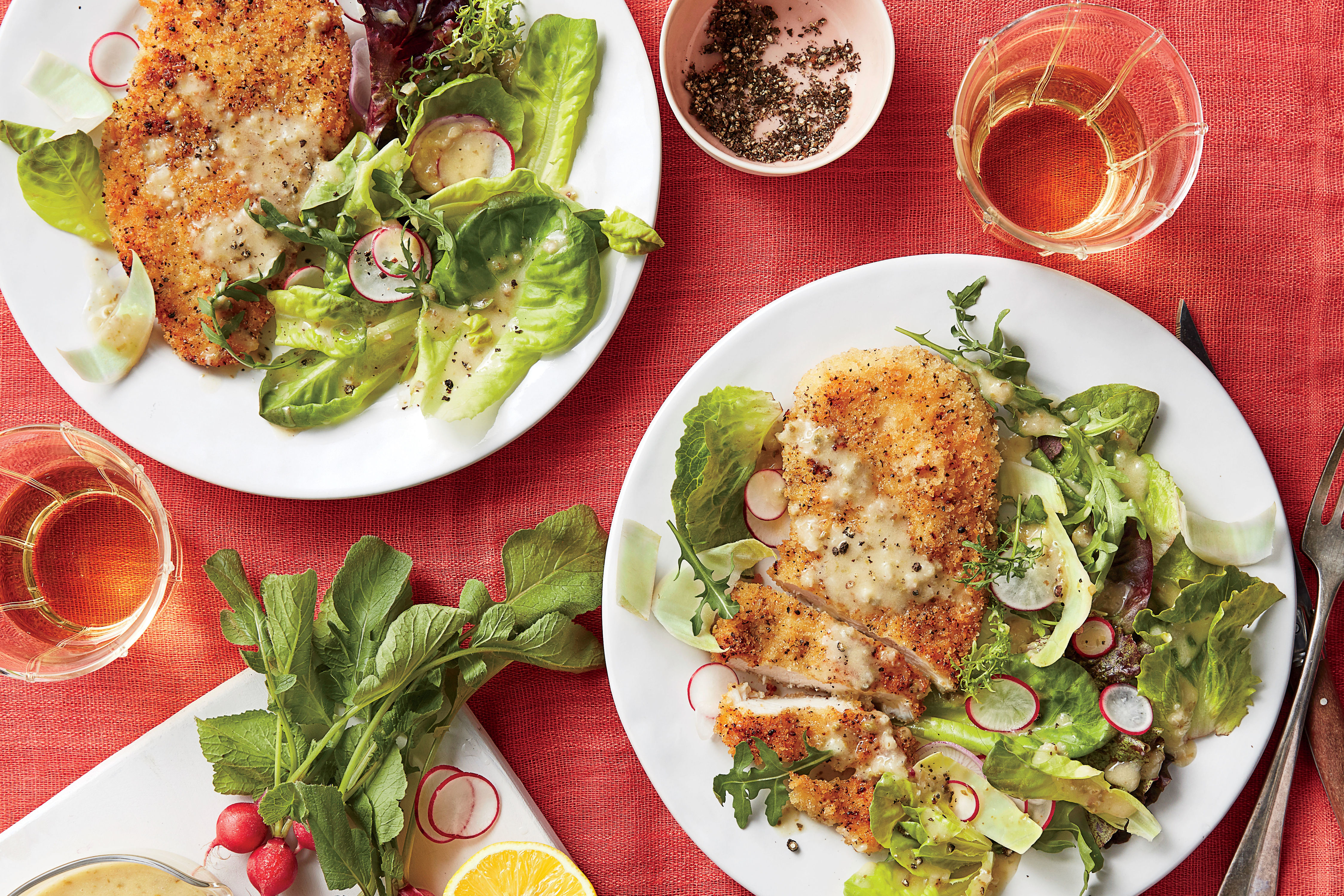 Oven-Fried Chicken with Spring Salad Recipe