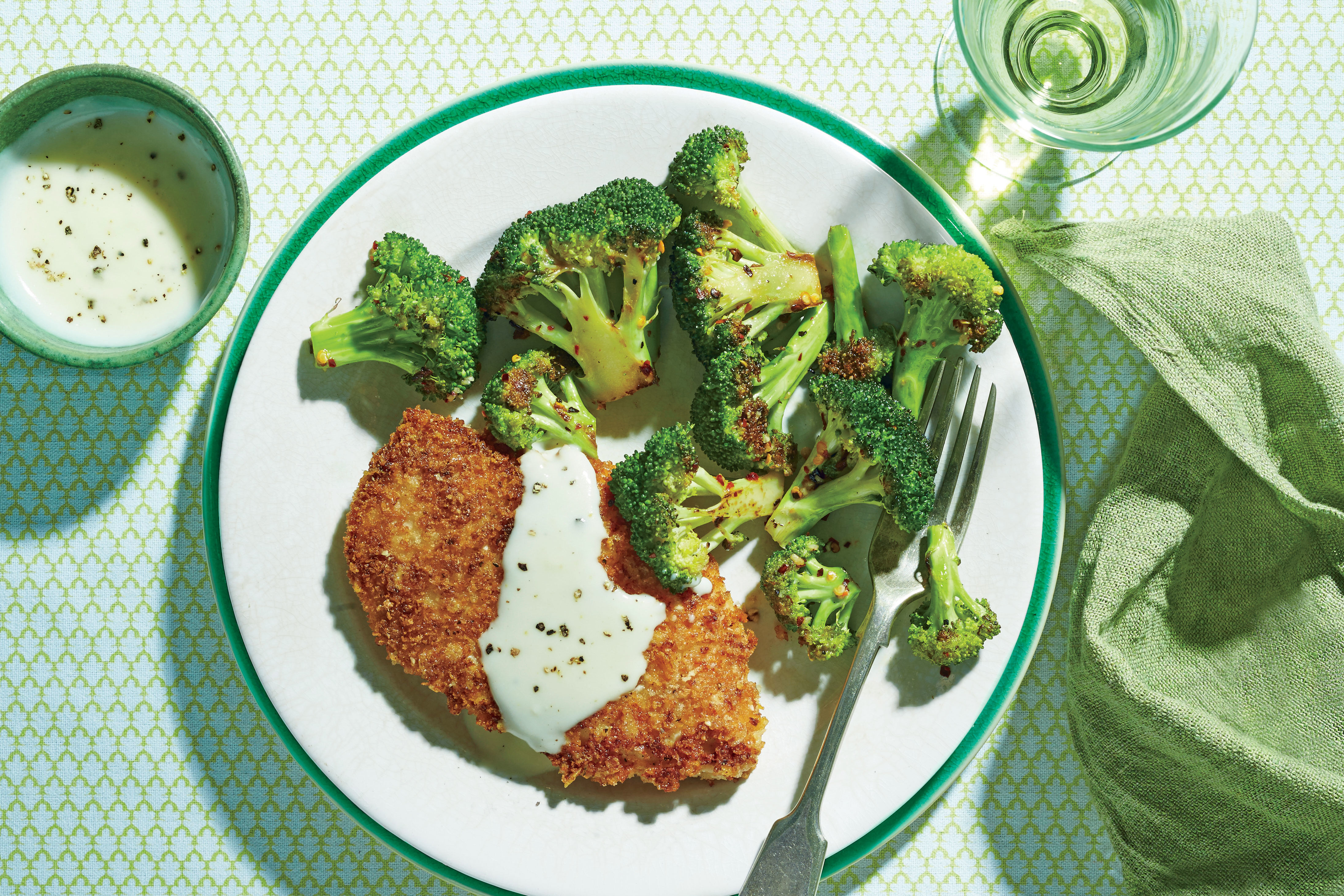Crispy Oven-Fried Chicken Cutlets with Roasted Broccoli and Parmesan Cream Sauce Recipe