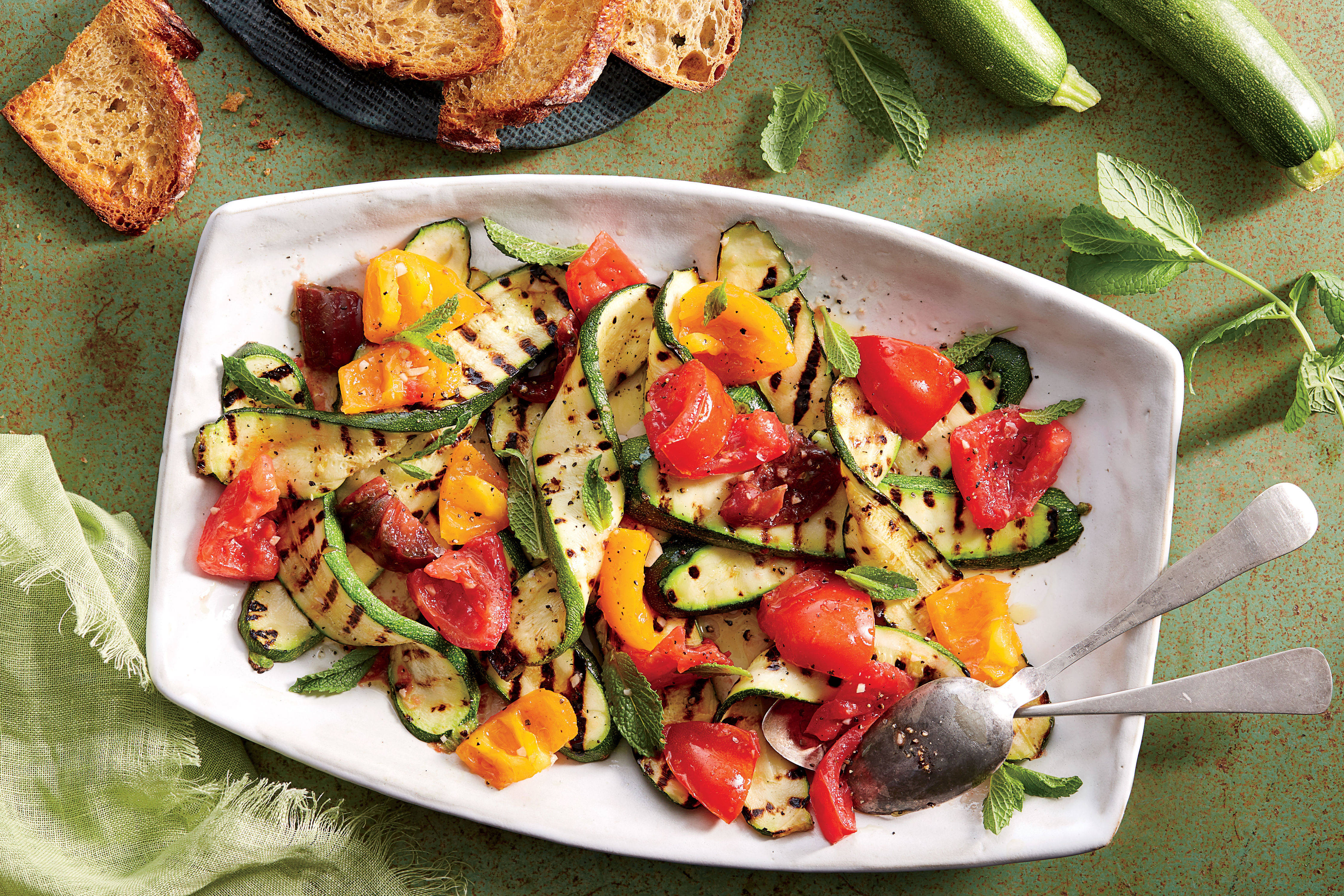 Grilled Zucchini with Tomatoes and Mint Recipe