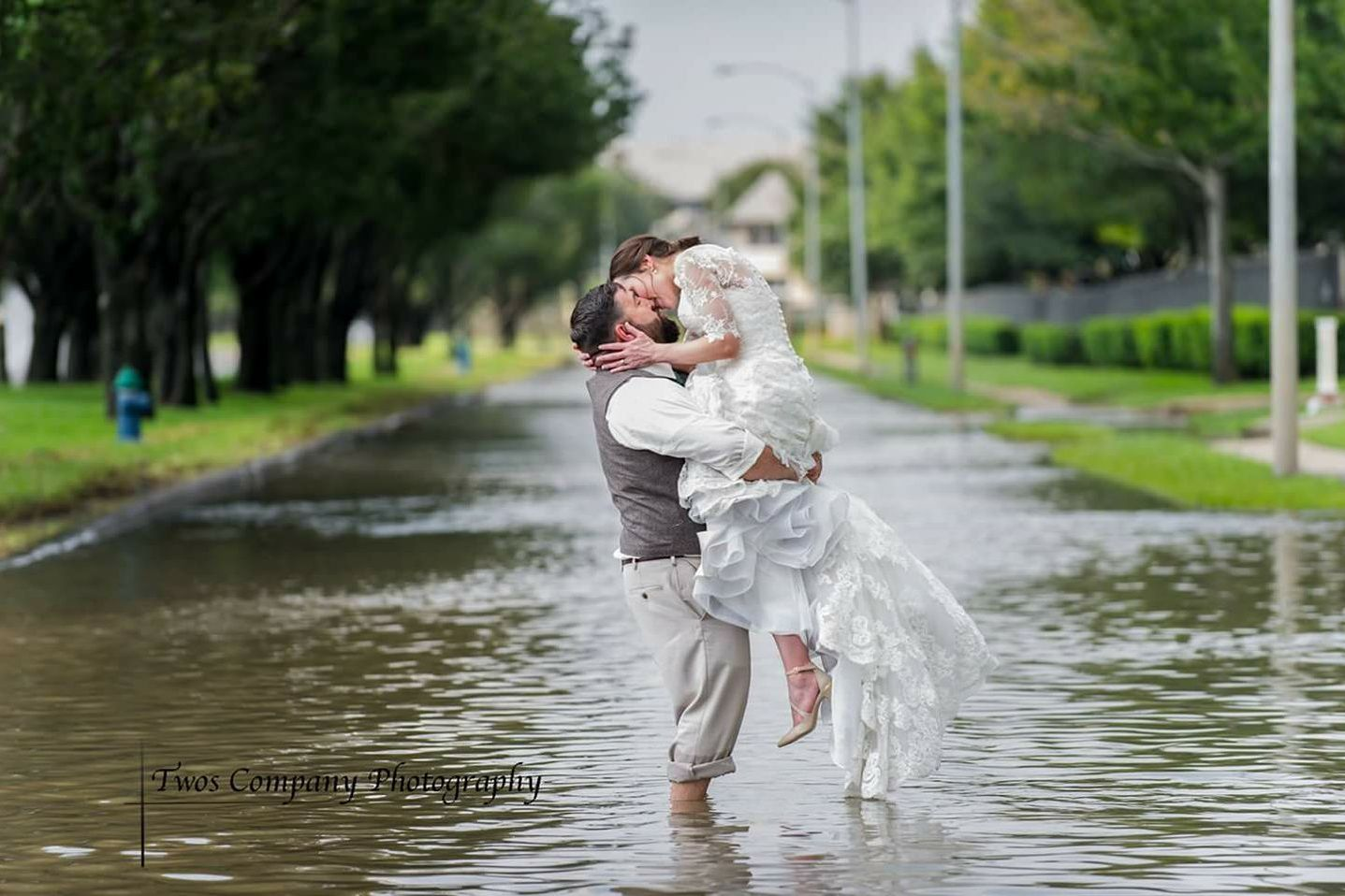 Newlyweds Pose in Flooded Street After Harvey Changes Their Wedding Day Plans