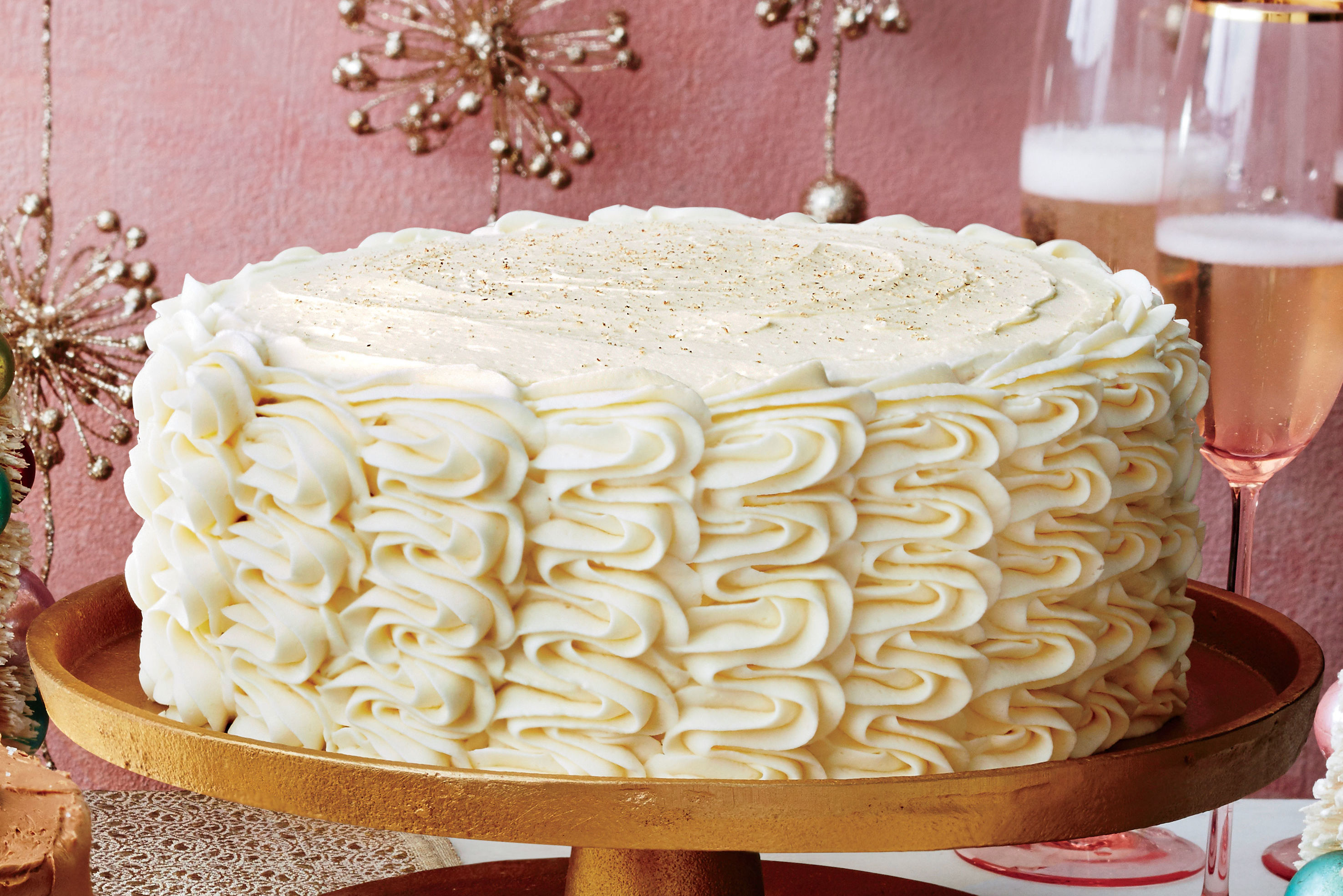Eggnog Spice Cake with Bourbon Custard Filling and Eggnog Buttercream Recipe