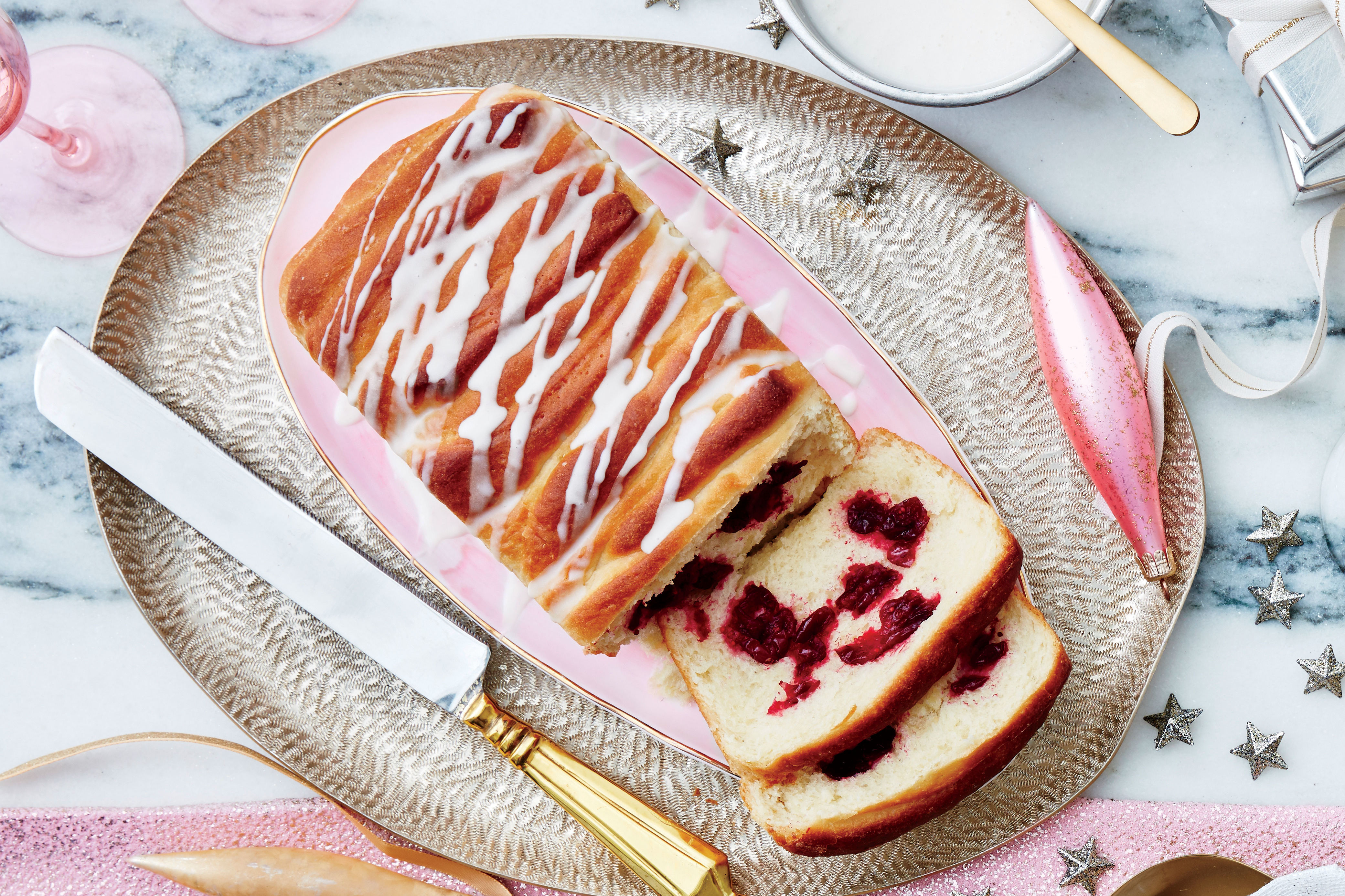 Cranberry Pull-Apart Bread with Orange-Cream Cheese Icing Recipe