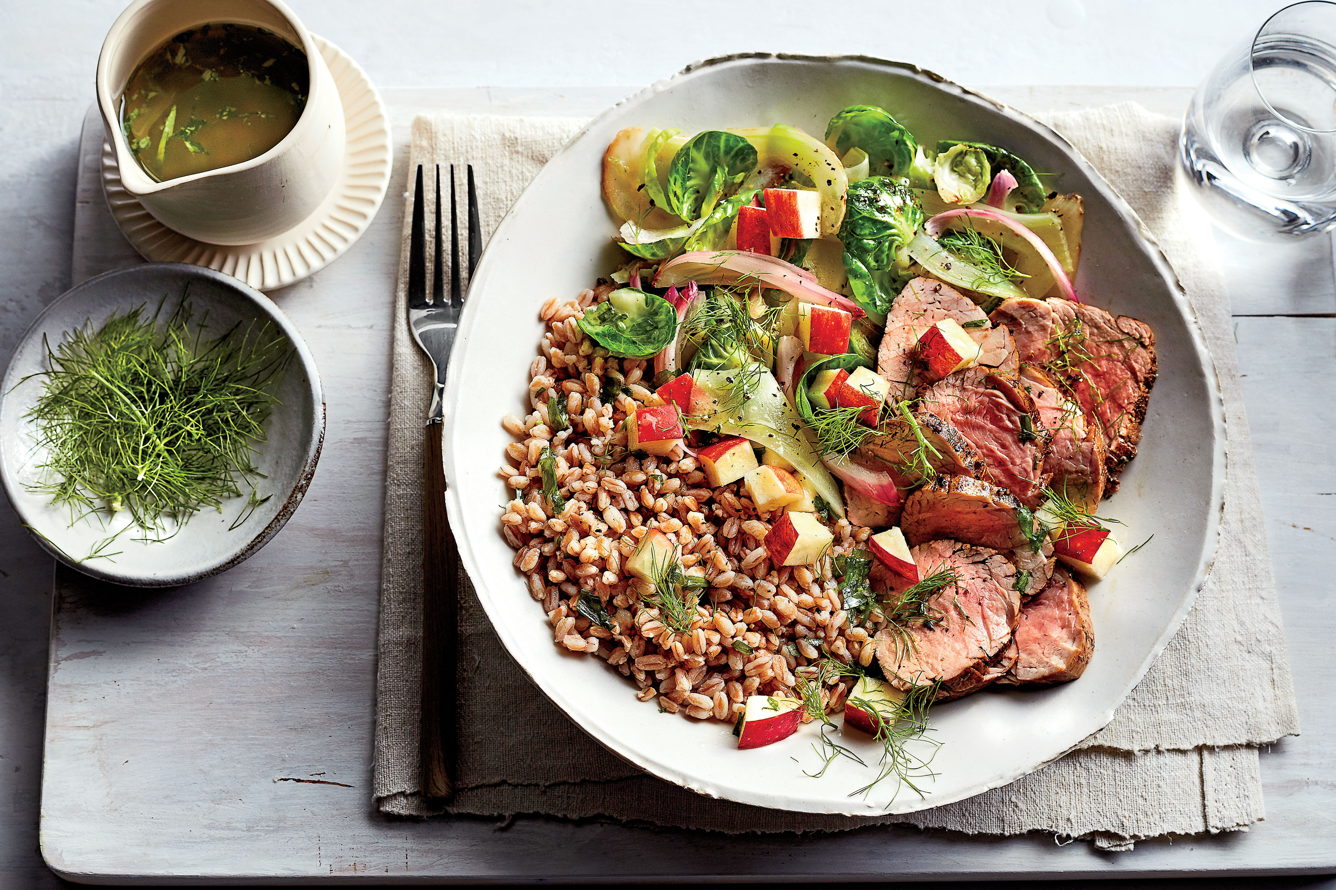 Pork-and-Farro Bowl with Warm Brussels Sprouts-Fennel Salad Recipe