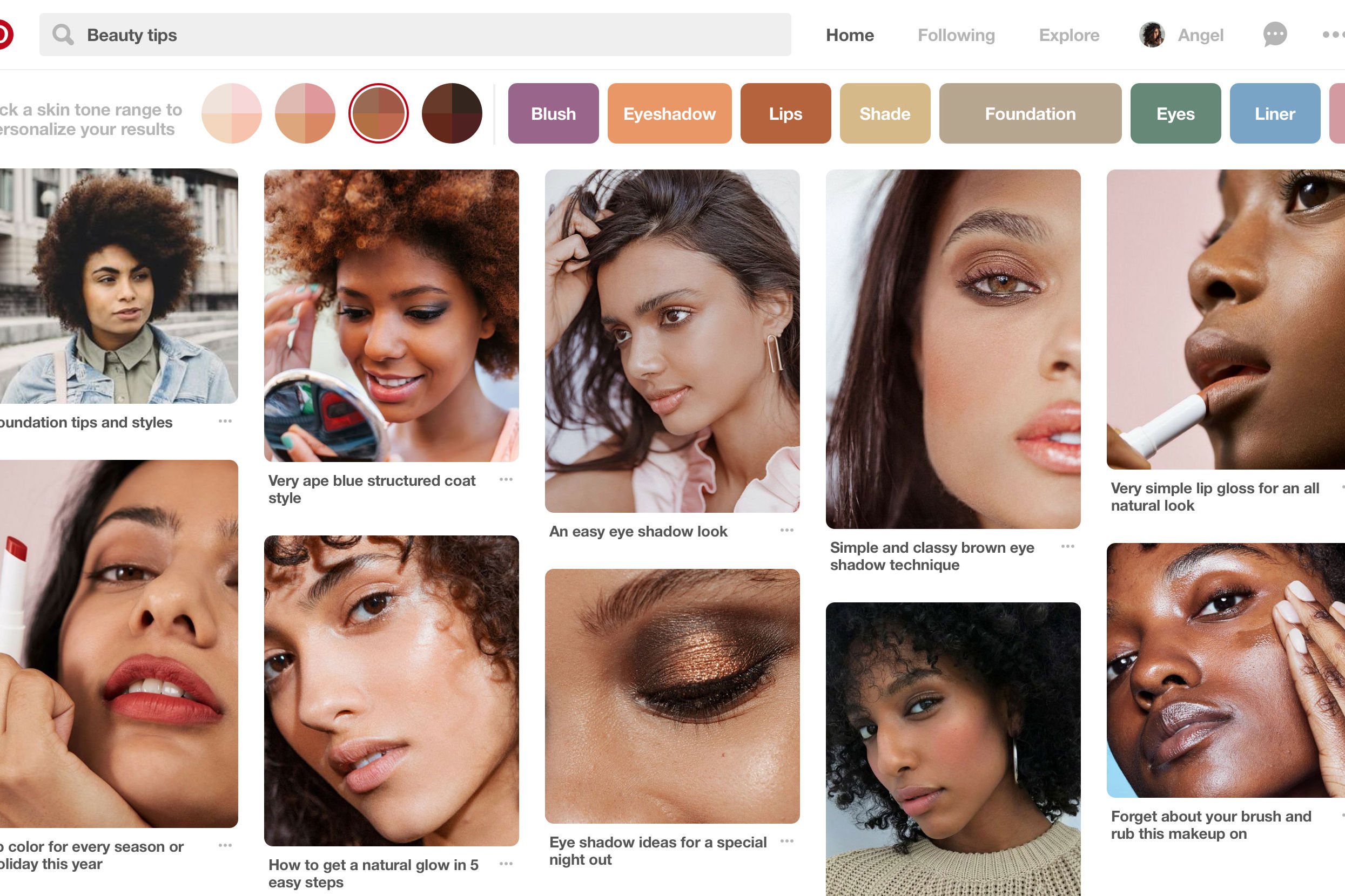 Pinterest Just Launched A Feature That Allows Users To Filter Hair and Beauty Pins By Skin Tone