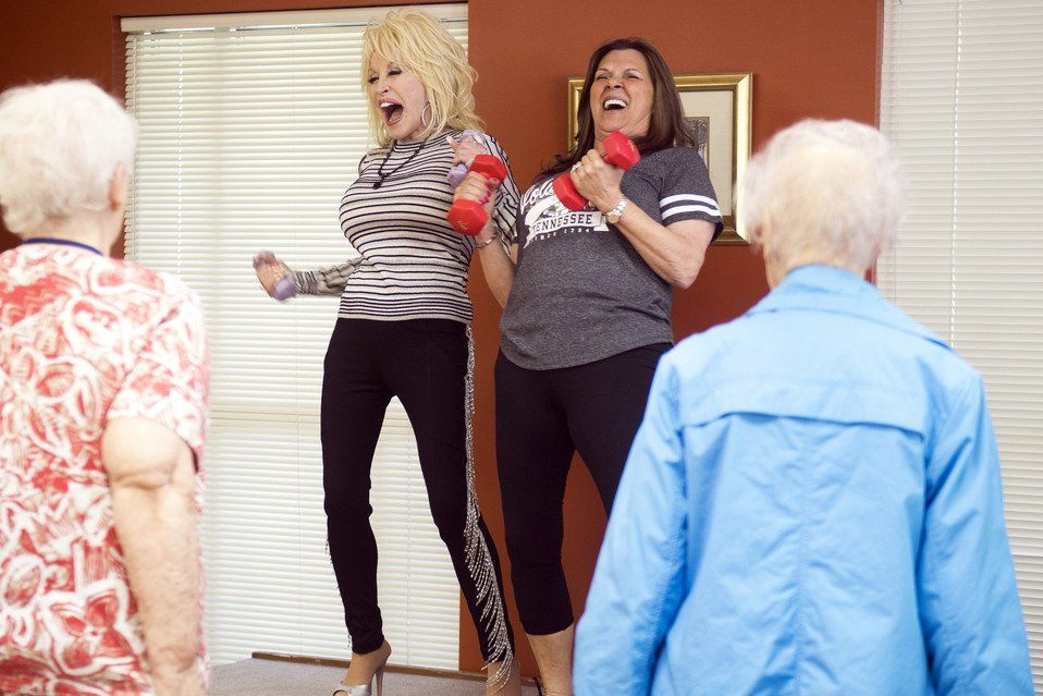 Dolly Parton Makes Surprise Visit to Tennessee Senior Center, Works Out in Heels