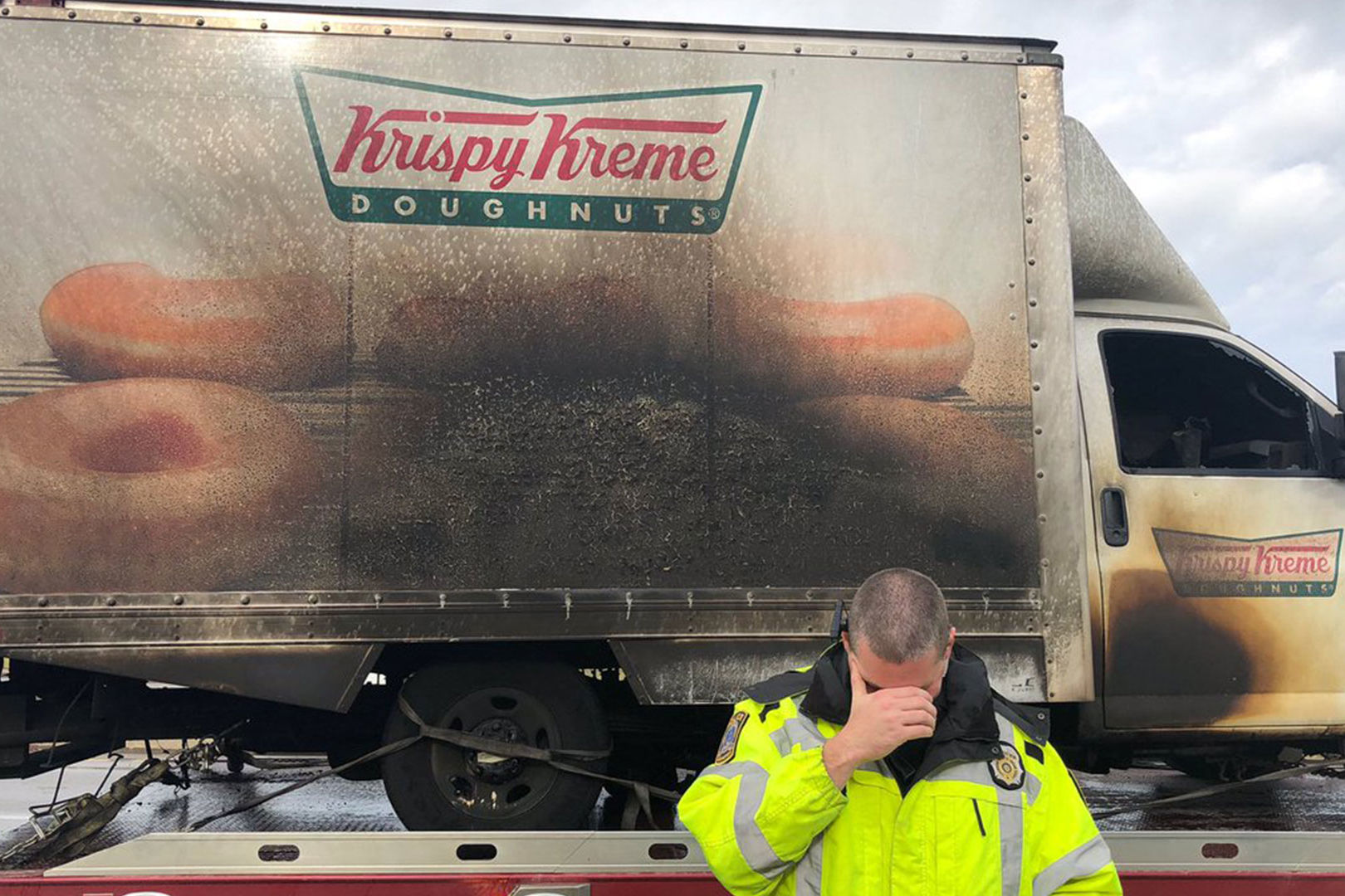 Kentucky Police Officers Hilariously Mourn Krispy Kreme Truck Destroyed in Fire