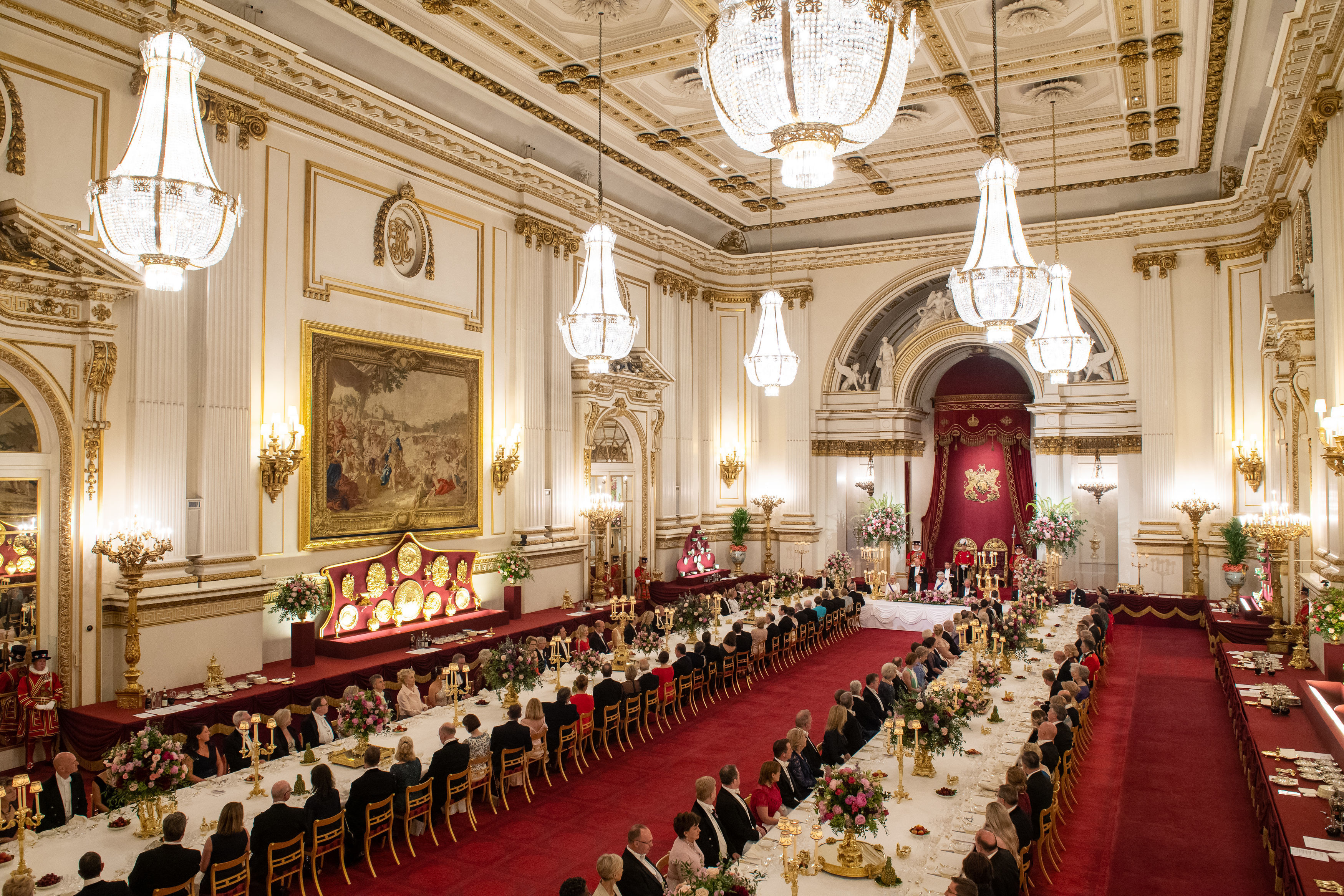 Royal Family Shares Rare Look at What Goes into Hosting a State Banquet at Buckingham Palace