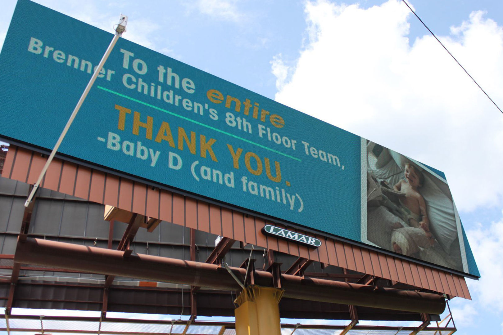 North Carolina Dad Uses Billboard to Thank Hospital That Treated His 3-Year-Old Son