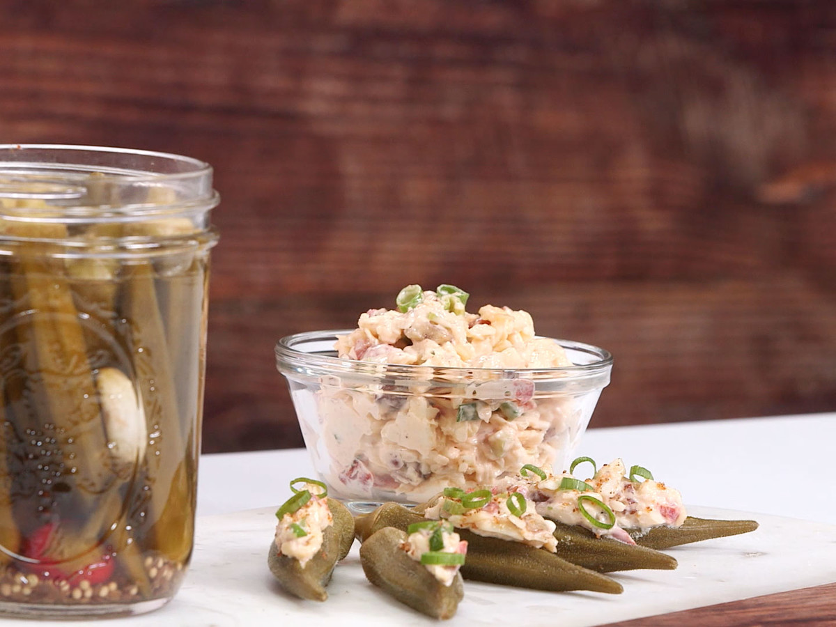 Pimiento Cheese-Stuffed Pickled Okra Image
