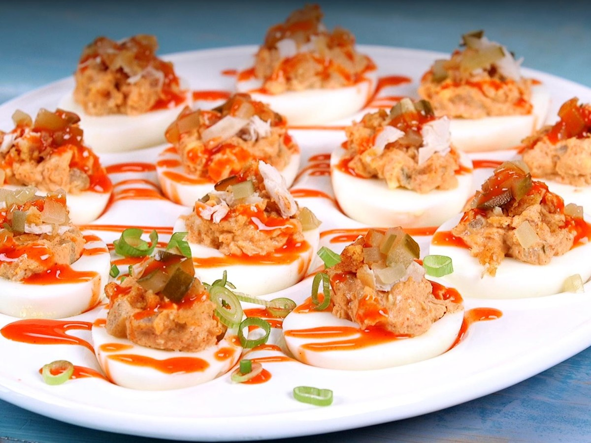 Well Done Hot Chicken Deviled Eggs