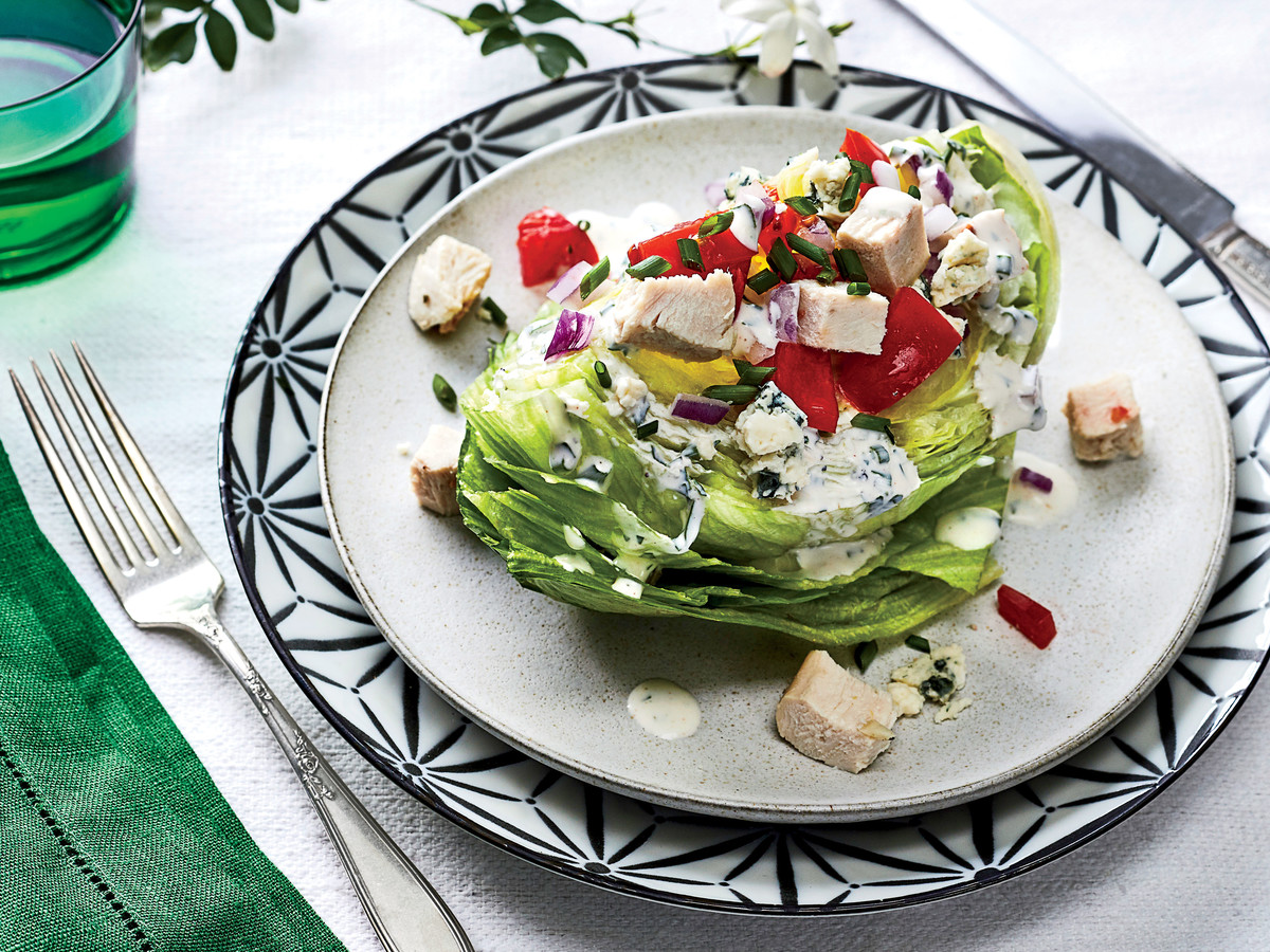 Wedge Salad with Turkey and Blue Cheese-Buttermilk Dressing Recipe