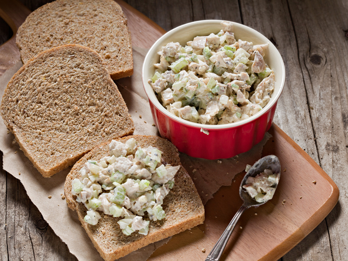 Chicken Salad in Bowl and on Bread