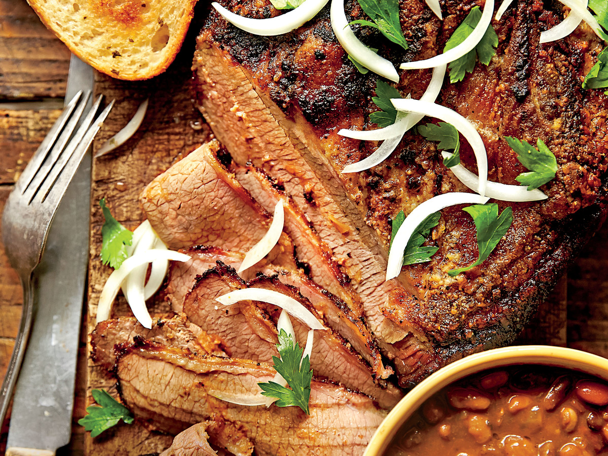 Slow-Cooked Cowboy Brisket and Beans