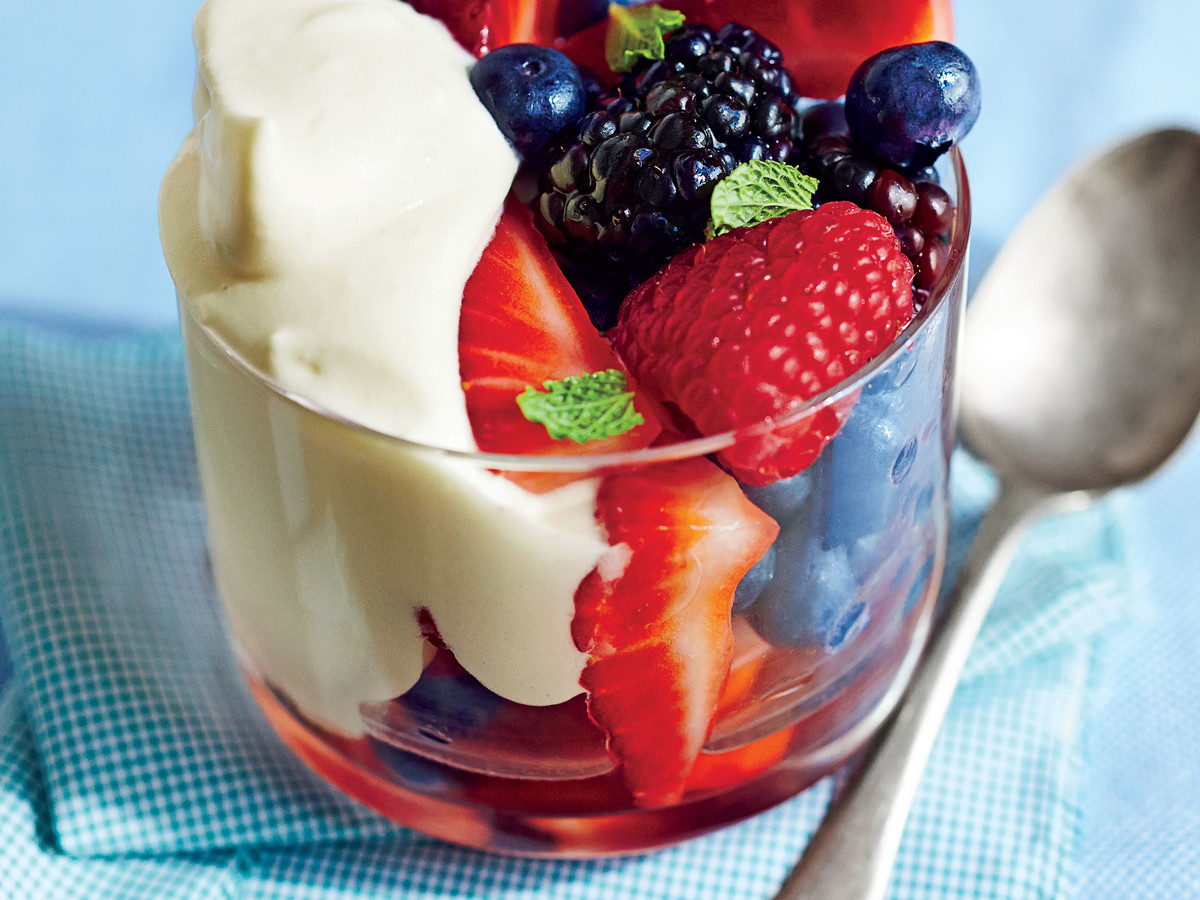 Honey Custard with Berries