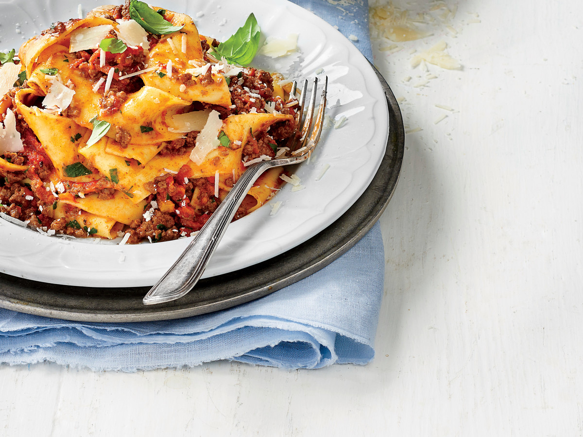 Slow-Cooker Bolognese Sauce over Pappardelle Pasta Recipe