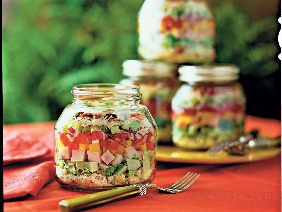 Layered Cornbread and Turkey Salad