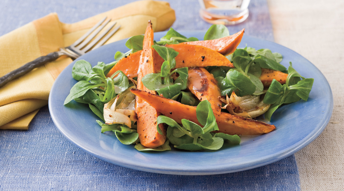 Cast Iron Skillet Recipes: Roasted Sweet Potato Salad with Citrus Vinaigrette