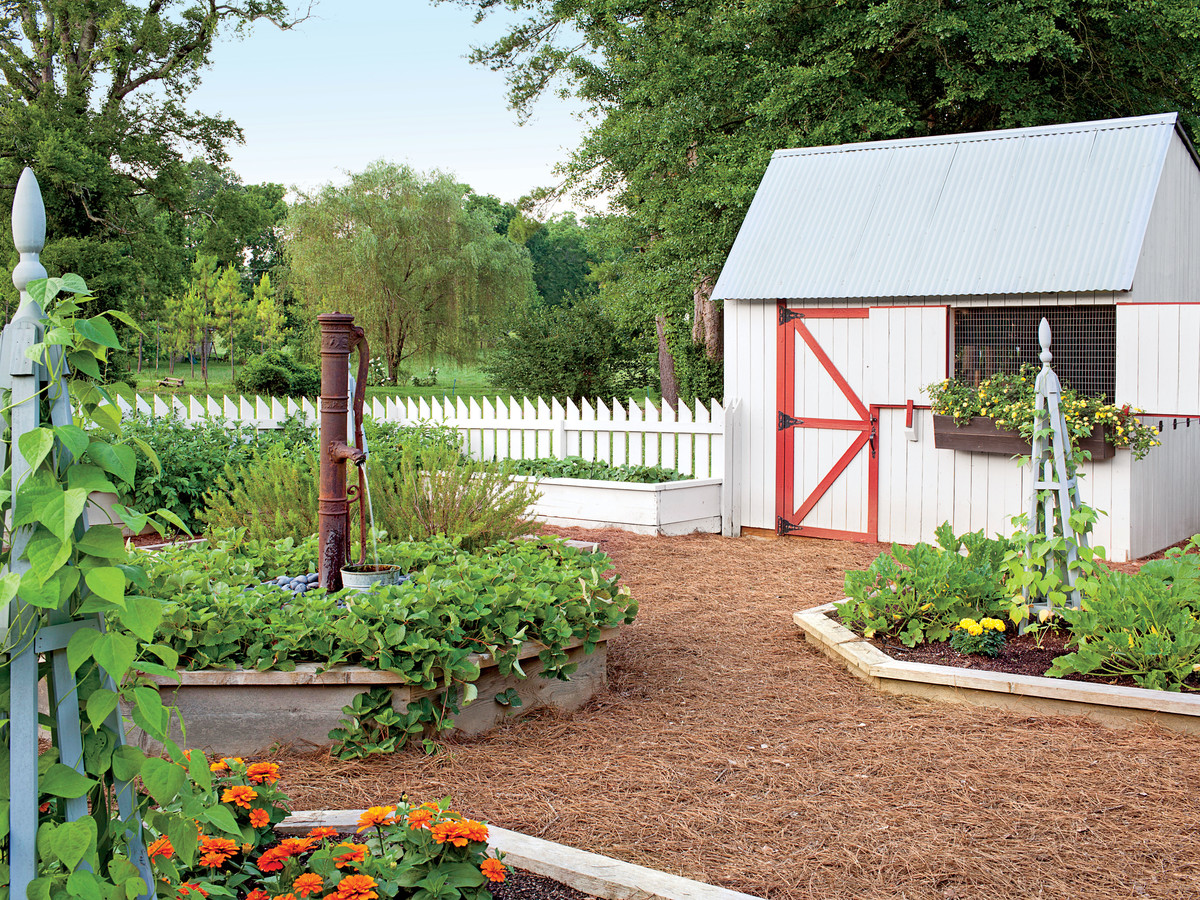 The raised vegetable garden at the home of Amy Arrowsmith in Flintstone, GA.  Garden desgin by Troy Rhone.