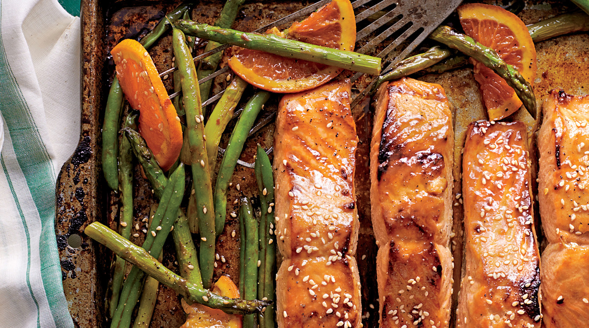 Honey-Soy-Glazed Salmon with Veggies and Oranges