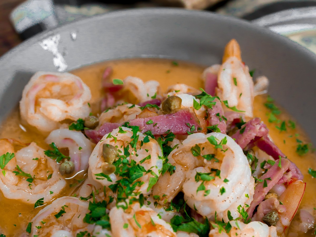 Sautéed Shrimp with Country Ham and Capers