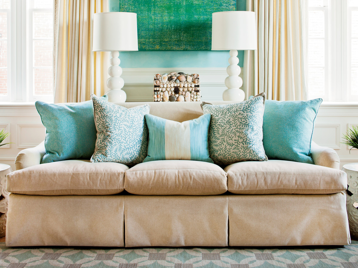 how to arrange sofa pillows southern living rh southernliving com images of pillows on sofas pictures of throw pillows on sofas
