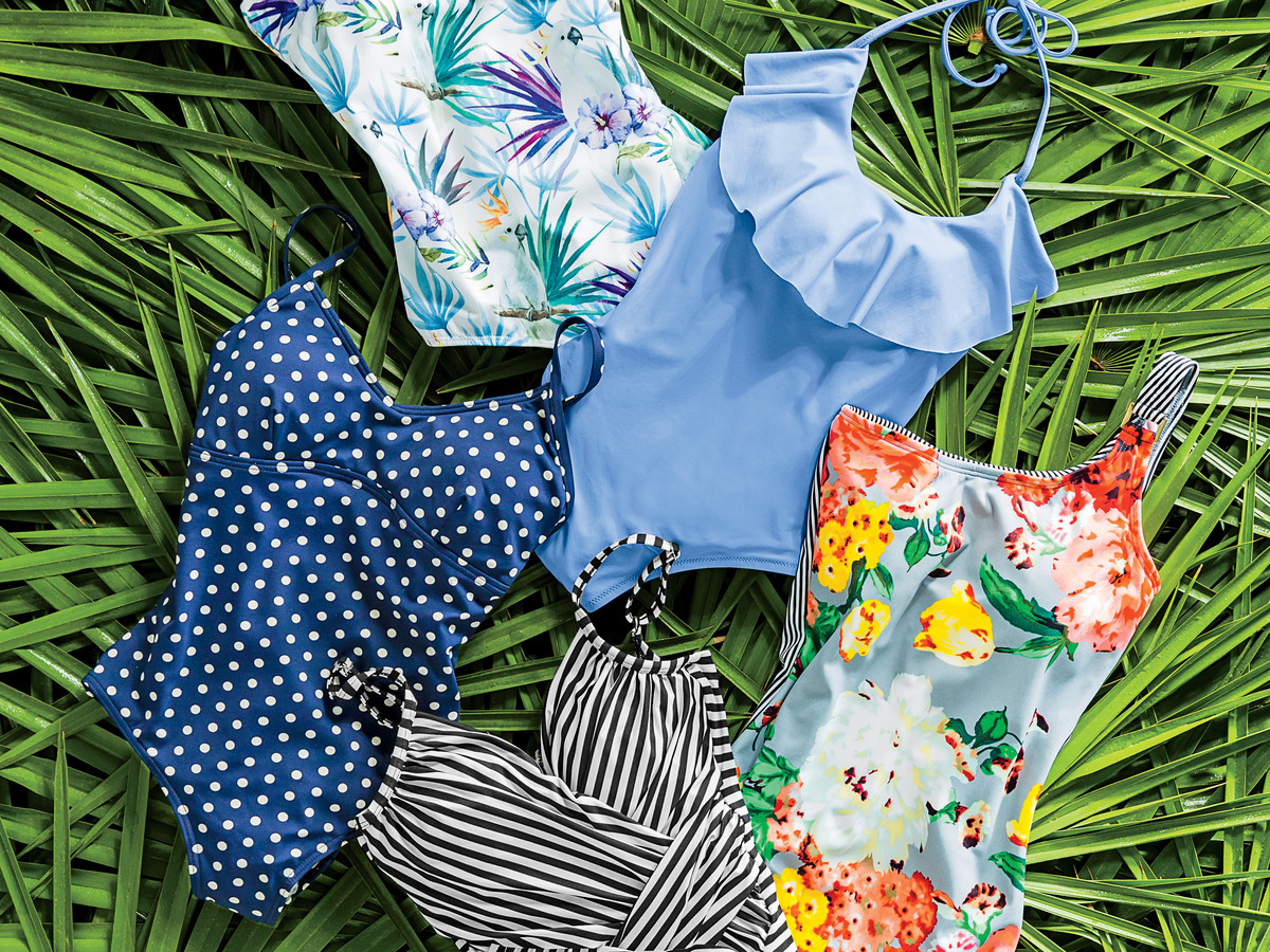 Five One-Piece Bathing Suits