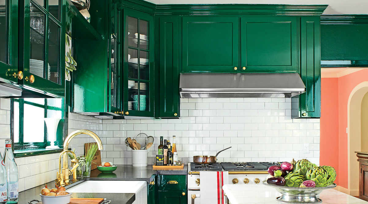 High Gloss Green Kitchen Cabinets