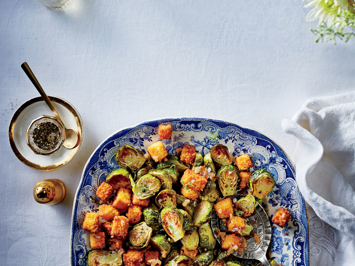 50 Best Thanksgiving Brussels Sprouts with Cornbread Croutons