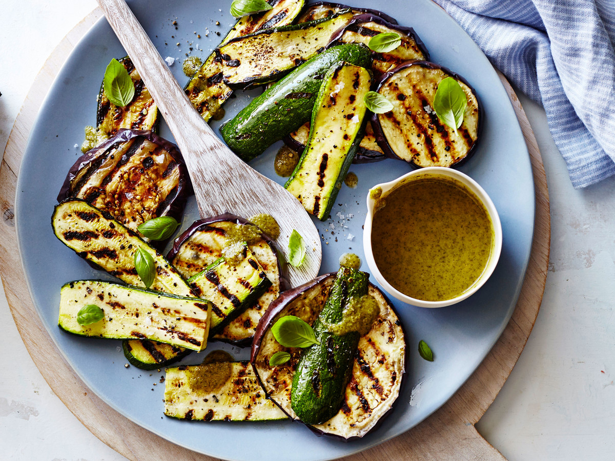 Grilled Zucchini and Eggplant with Basil Vinaigrette Recipe