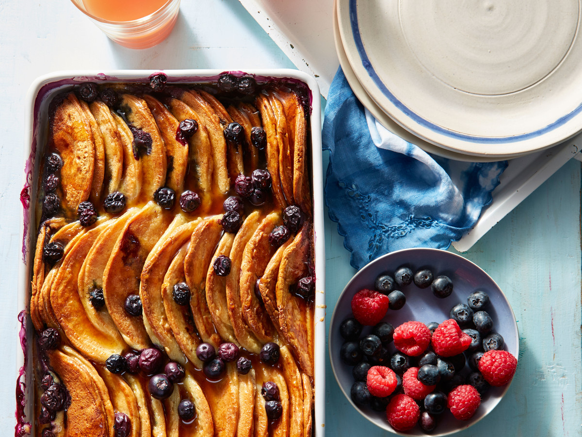 Blueberry pancake breakfast casserole recipe southern living blueberry pancake breakfast casserole ccuart Image collections