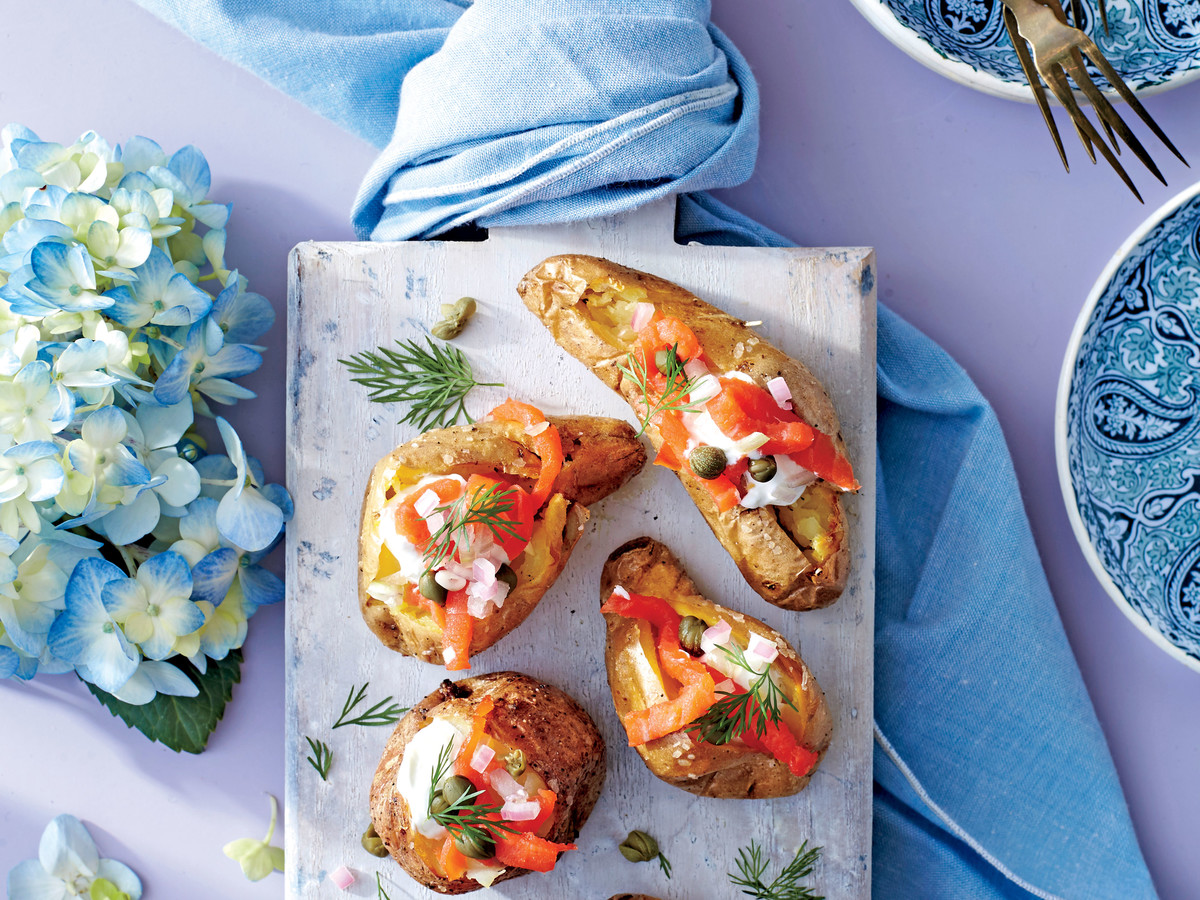 Baked Fingerling Potatoes with Smoked Salmon and Capers
