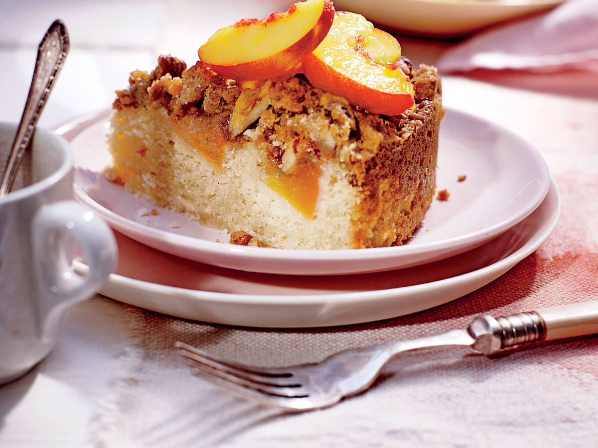 Fresh Peach Coffee Cake with Pecan Streusel