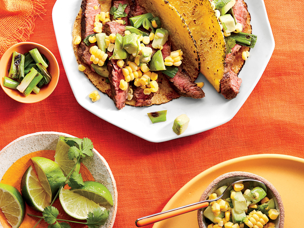 Skirt Steak Soft Tacos with Avocado-Corn Salsa