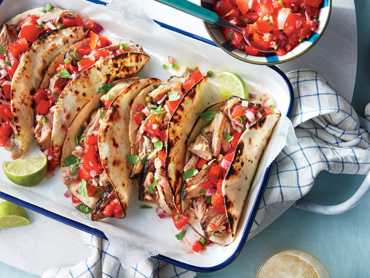 Slow-Cooker Pork Tacos with Fresh Tomato Salsa