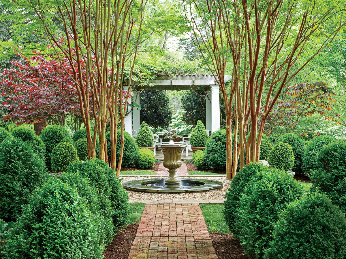 Beautiful Boxwood Garden With Fountain