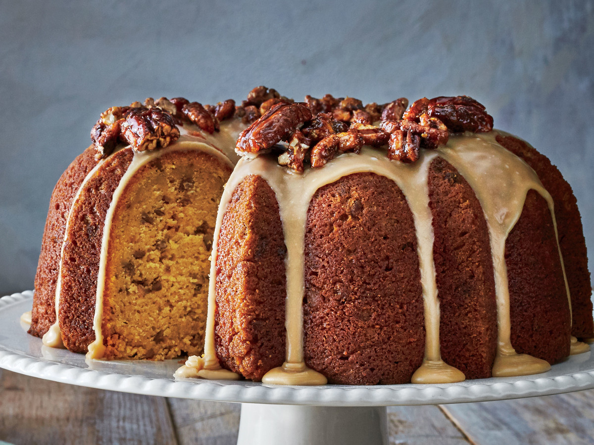 Pumpkin-Spice Bundt with Brown Sugar Icing and Candied Pecans Recipe