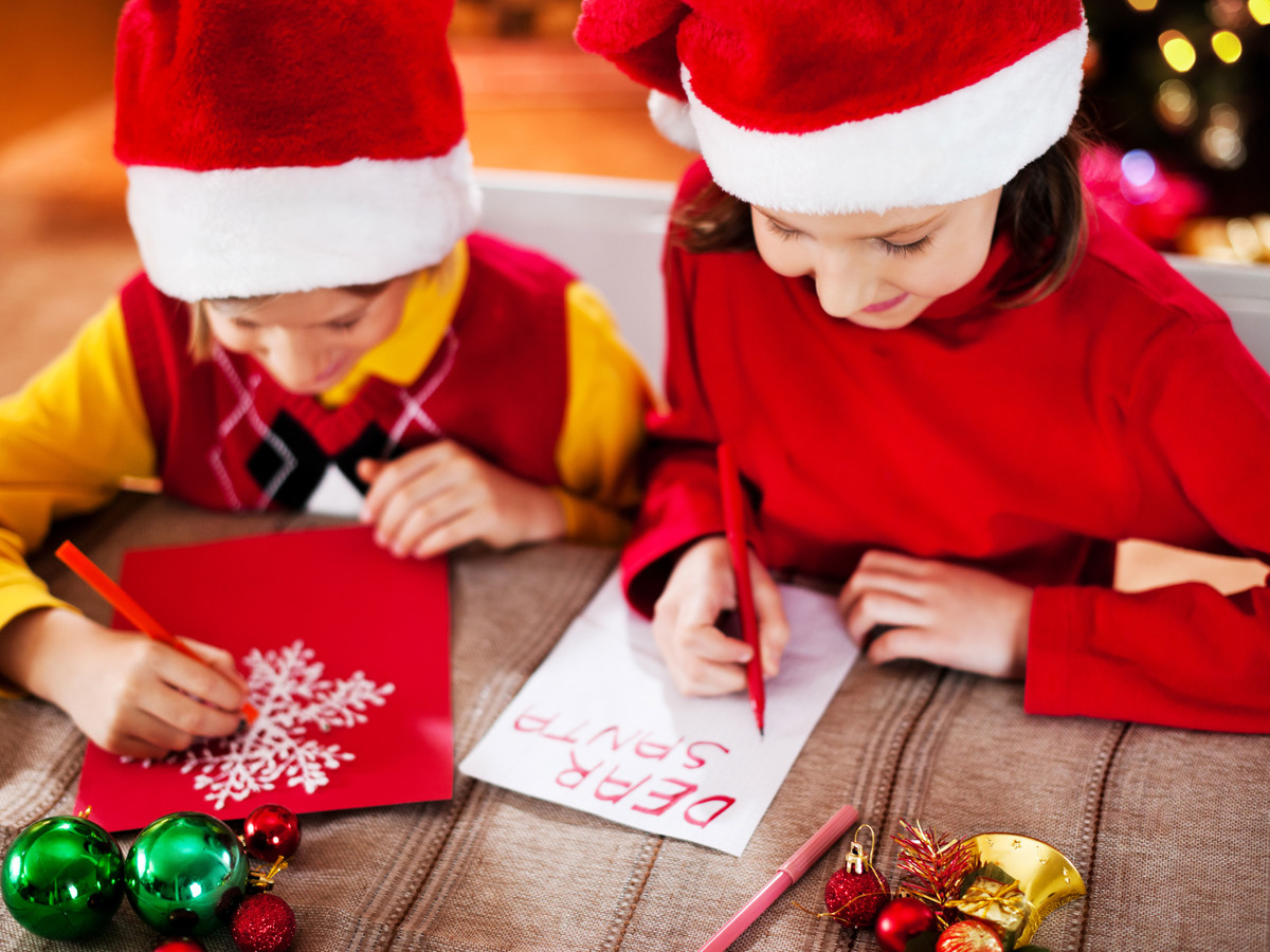 Children Writing Letter to Santa