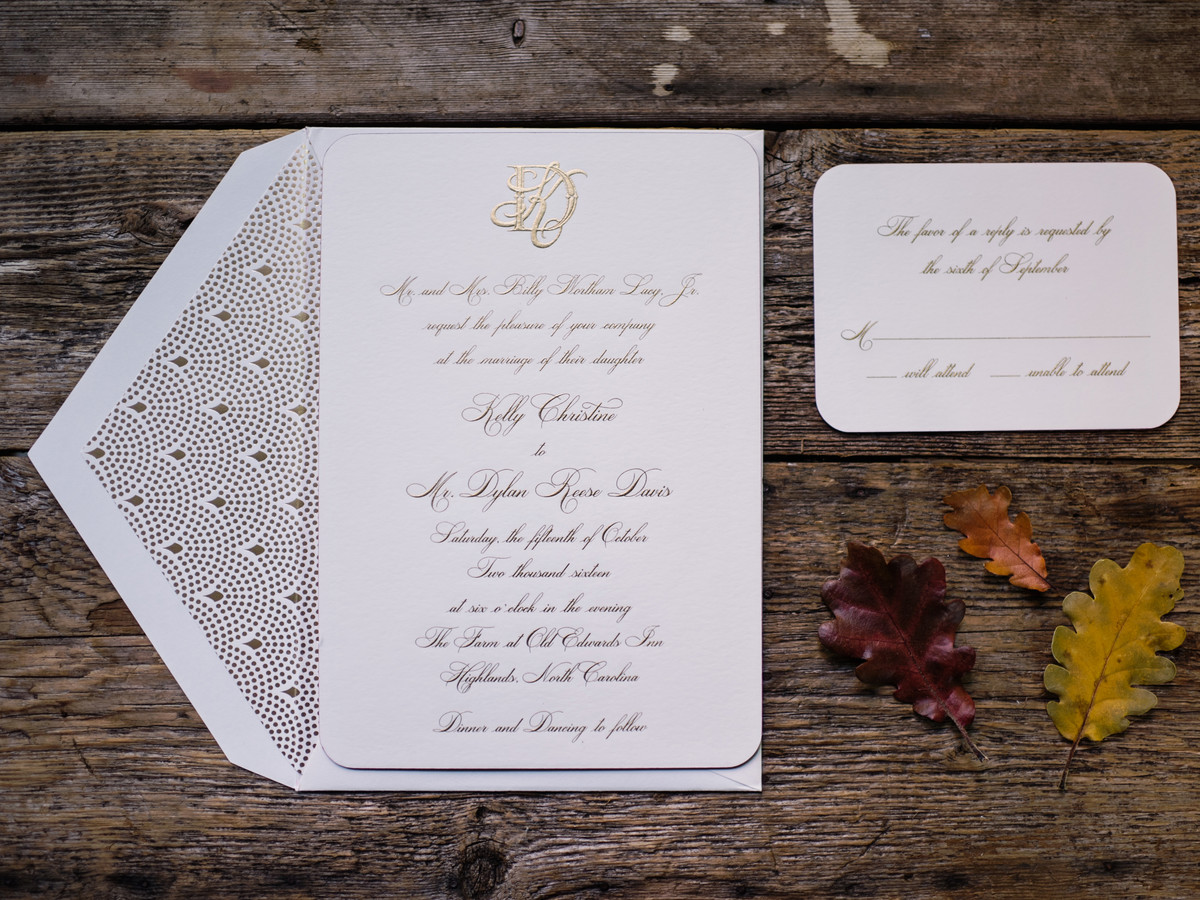 This is the most popular wedding date of 2018 southern living timeless gold invitations monicamarmolfo Choice Image