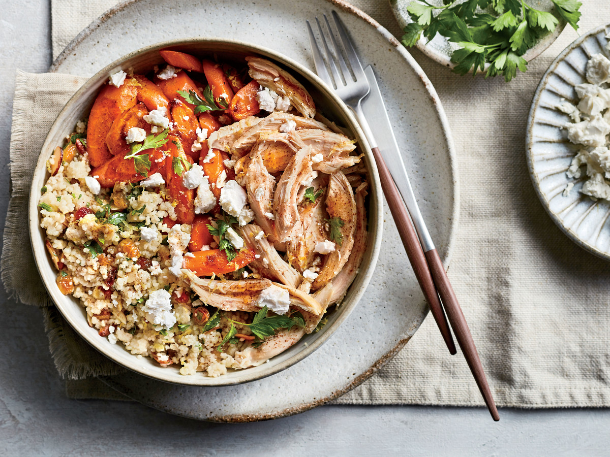 Couscous Pilaf with Roasted Carrots, Chicken, and Feta