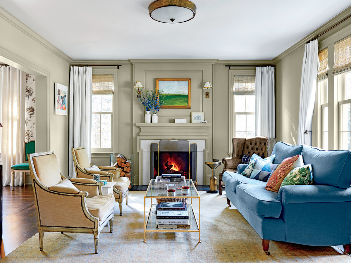 Chapel Hill House Living Room with Blue Sofa