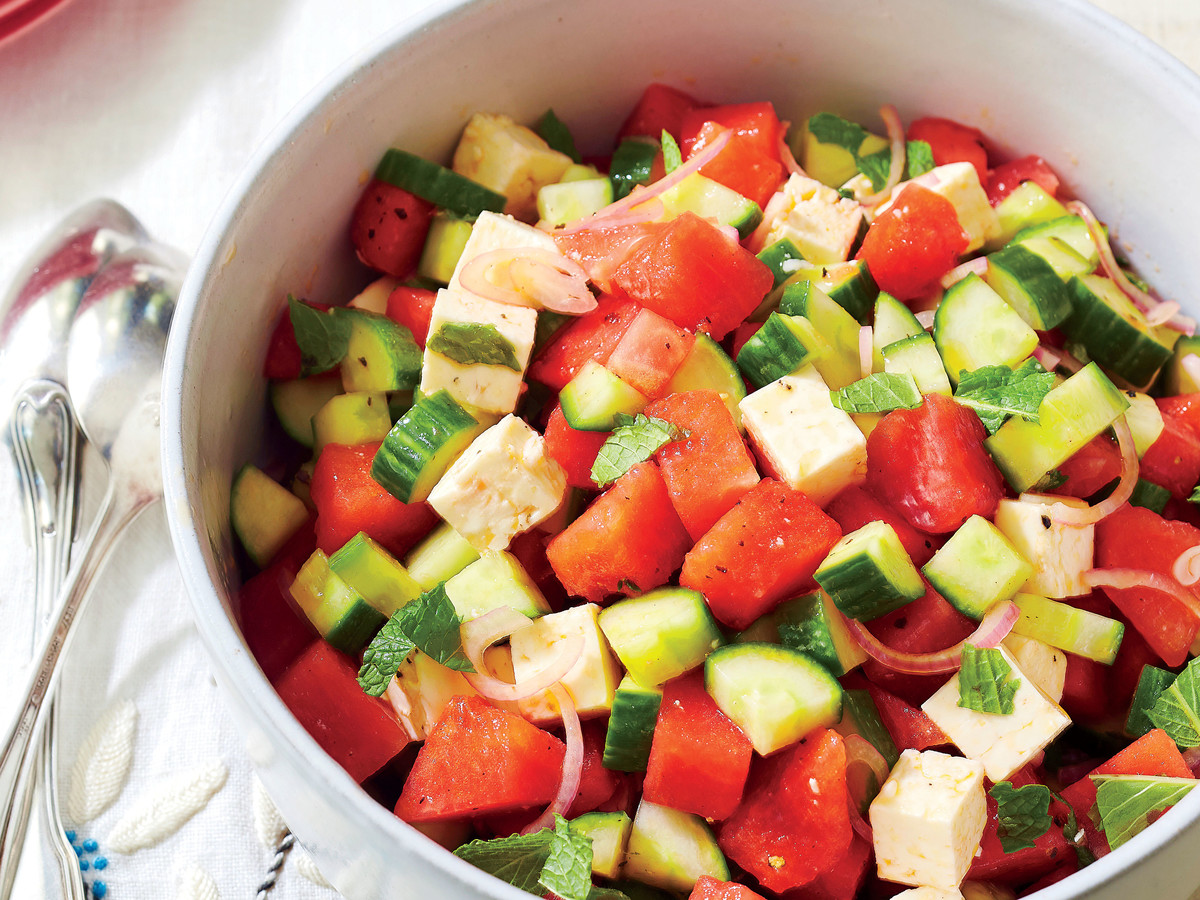 Watermelon, Cucumber, and Feta Salad Recipe