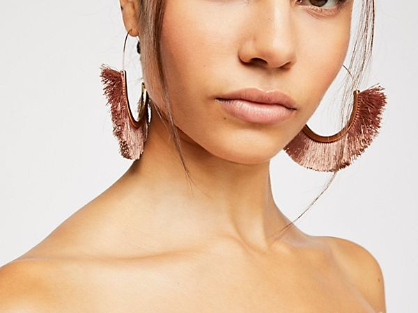 Blush Flamenco Tassel Hoop Earrings