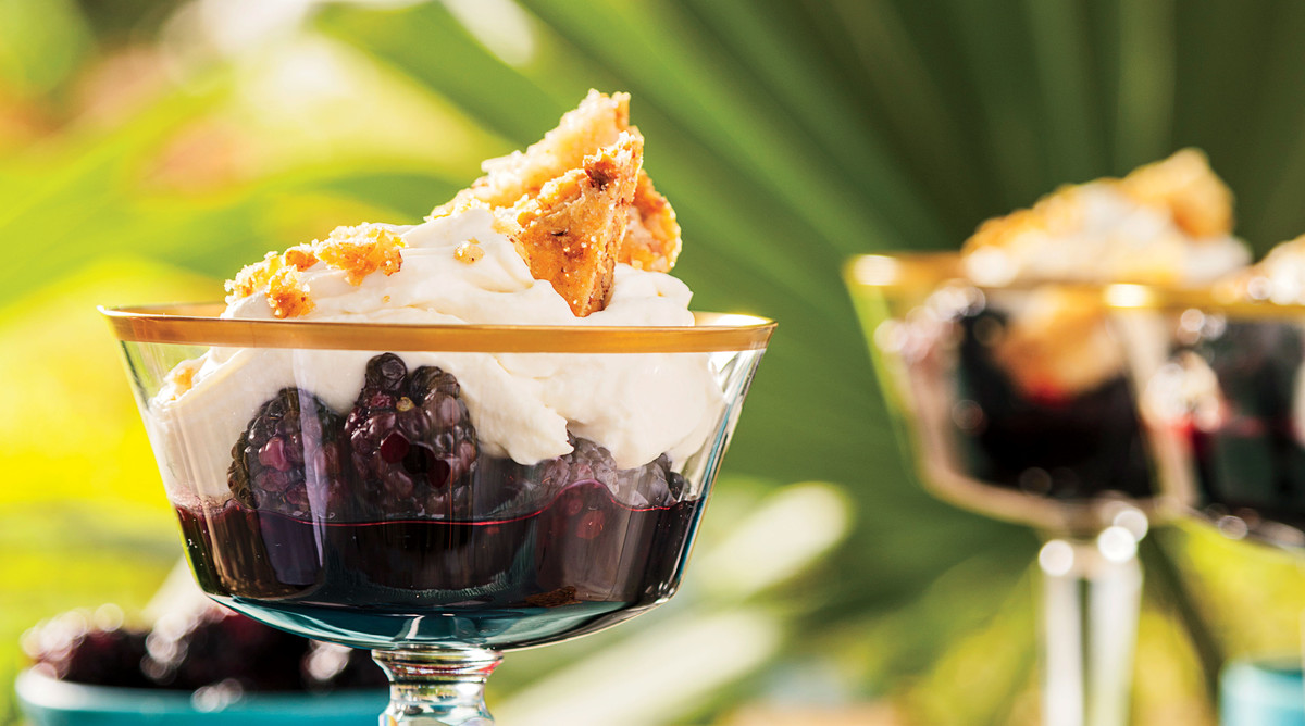 Blackberry Trifles with Pecan Feuilletage and Mascarpone-Cane Syrup Mousse