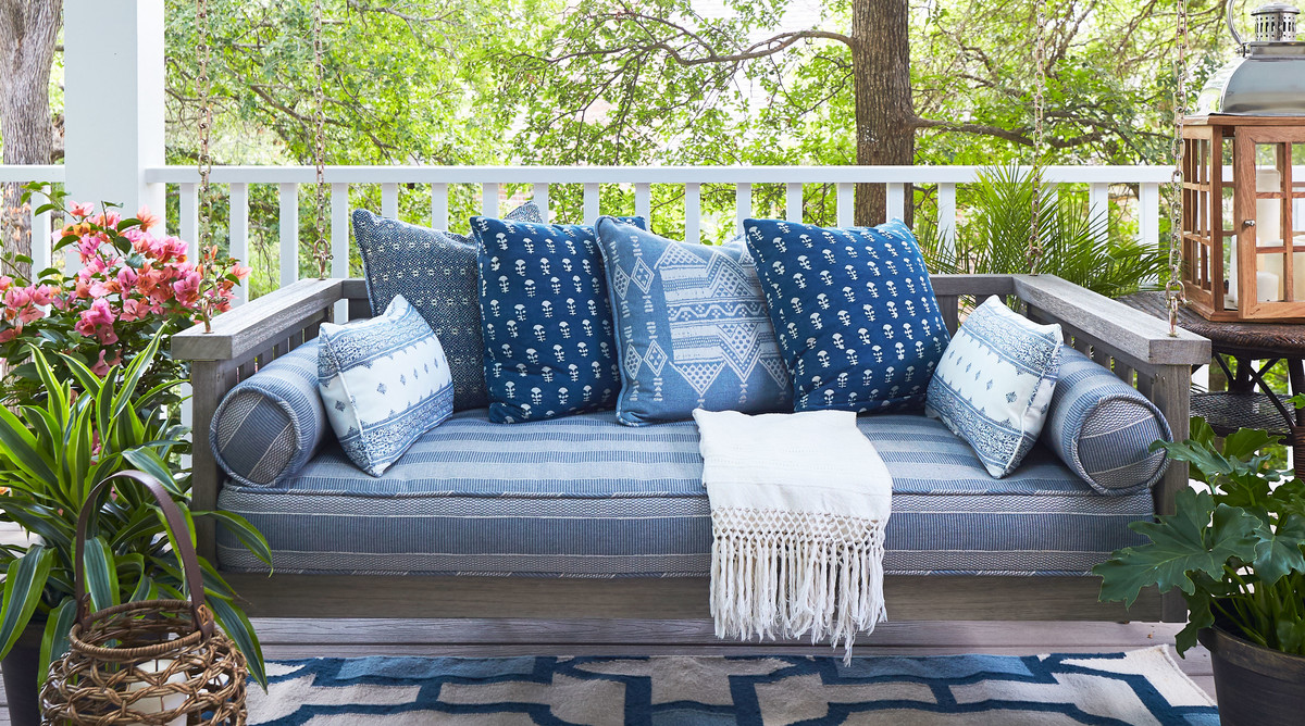 2018 Idea House in Austin, Texas Blue and White Porch Swing