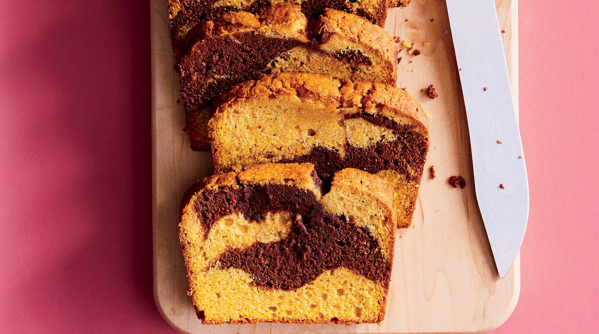 Pumpkin Spice-Chocolate Marble Loaves