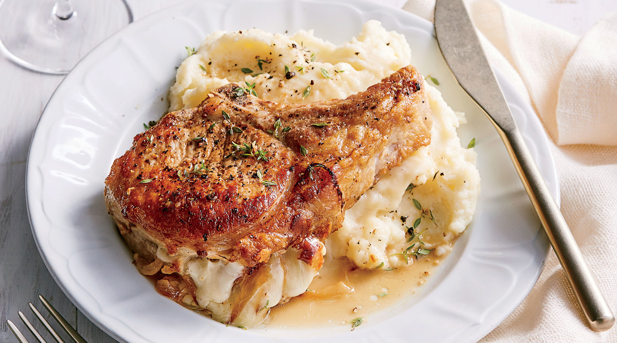 Fontina-Stuffed Pork Chops with Mashed Potatoes