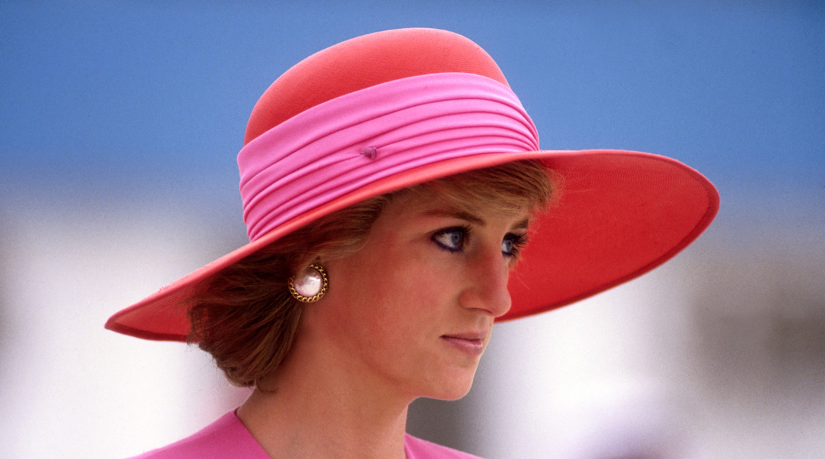 Princess Diana in a Pink and Red Wide-Brimmed Hat